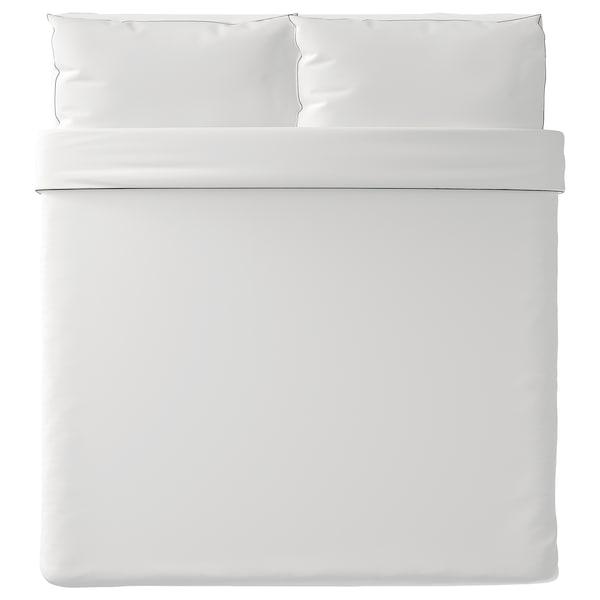 KUNGSBLOMMA غطاء لحاف و ٢ غطاء مخدة, أبيض/رمادي, 240x220/50x80 سم