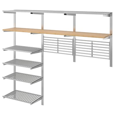 KUNGSFORS Suspension rail w shelves/wll grids, stainless steel/bamboo