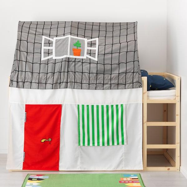 KURA خيمة سرير مع ستارة, رمادي/أبيض