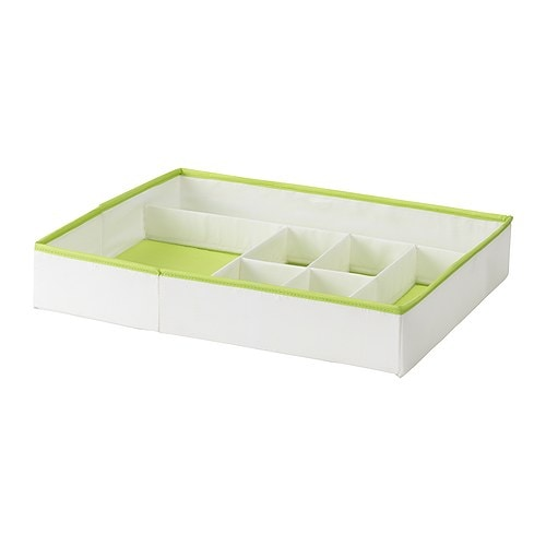 KUSINER Box with compartments IKEA Inside organiser for socks and underwear or those small things, that fits perfectly into the STUVA drawers.