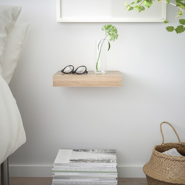 LACK رف حائط, مظهر سنديان مصبوغ أبيض, 30x26 سم
