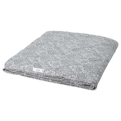 LÅGBJÖRK لحاف، أقل دفئاً, رمادي غامق/أبيض, 150x200 سم