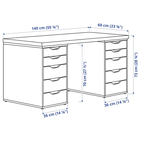 LAGKAPTEN / ALEX مكتب, أسود-بني/أبيض, 140x60 سم