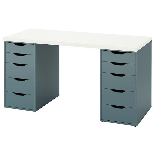 LAGKAPTEN / ALEX Desk, white/grey-turquoise, 140x60 cm