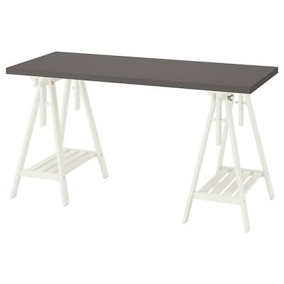 LAGKAPTEN / MITTBACK Desk, dark grey/white, 140x60 cm