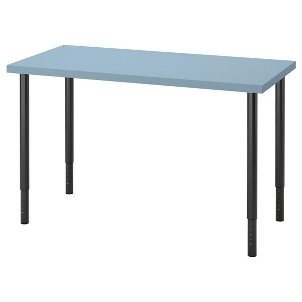 LAGKAPTEN / OLOV Desk, light blue/black, 120x60 cm