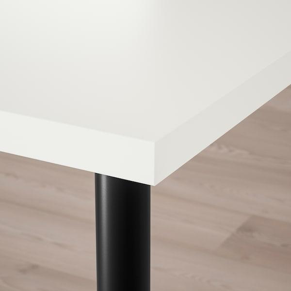 LAGKAPTEN / OLOV Desk, white/black, 120x60 cm