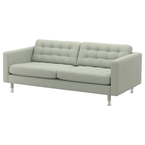 LANDSKRONA 3-seat sofa Gunnared light green/metal 204 cm 89 cm 78 cm 64 cm 180 cm 61 cm 44 cm