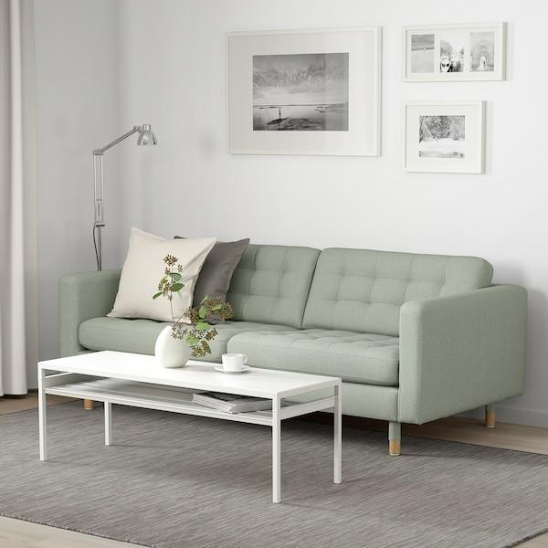 LANDSKRONA كنبة 3 مقاعد, Gunnared أخضر فاتح/خشبي