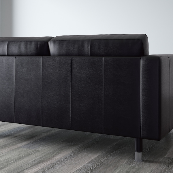 LANDSKRONA 4-seat sofa, with chaise longue/Grann/Bomstad black/metal