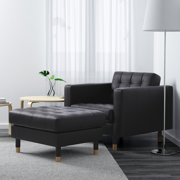 LANDSKRONA Armchair, Grann/Bomstad black/wood