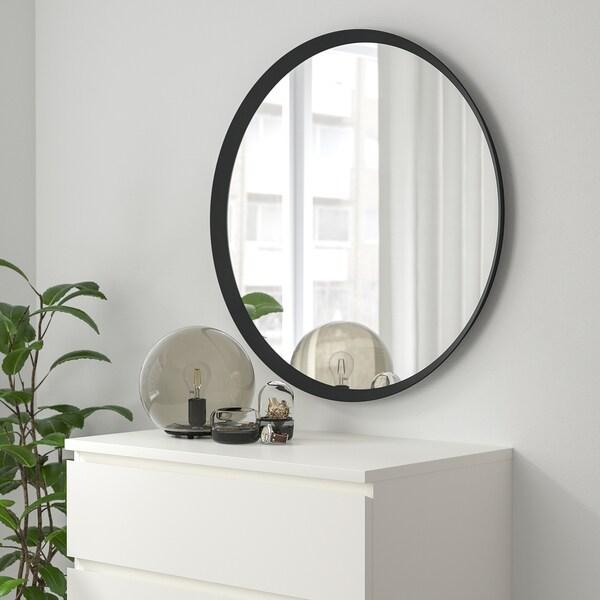 LANGESUND Mirror, dark grey, 80 cm