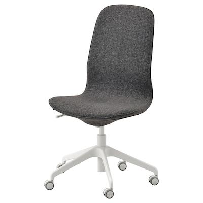 LÅNGFJÄLL كرسي مكتب, Gunnared رمادي غامق/أبيض