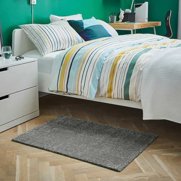 LANGSTED Rug, low pile, light grey, 60x90 cm