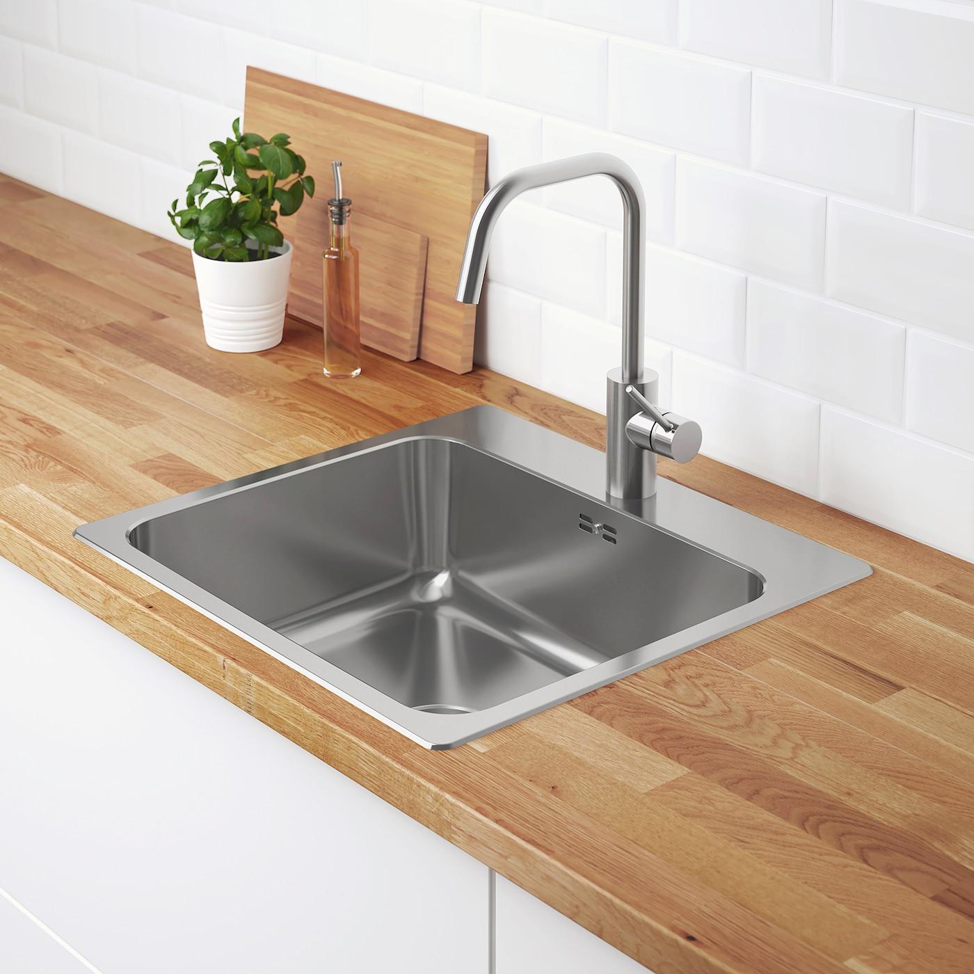 LÅNGUDDEN Inset sink, 4 bowl - stainless steel 4x4 cm