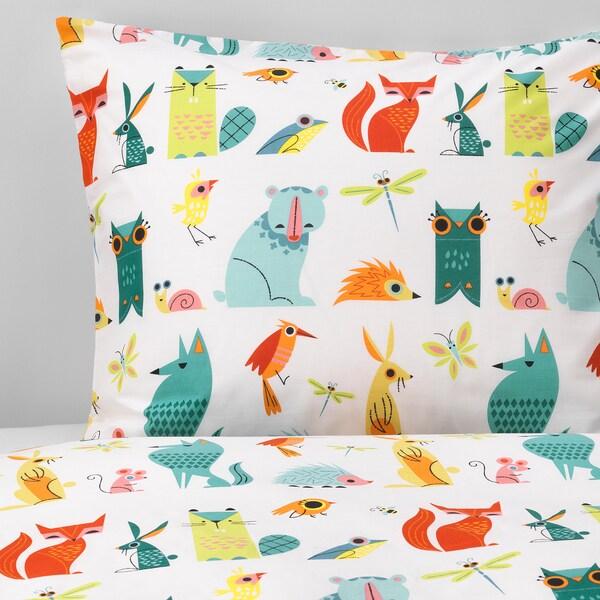 LATTJO quilt cover and pillowcase animal/multicolour 200 cm 150 cm 50 cm 80 cm