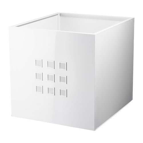 LEKMAN Box IKEA Perfect for everything from newspapers to clothes.  The felt pads underneath protect the surface below against scratches.
