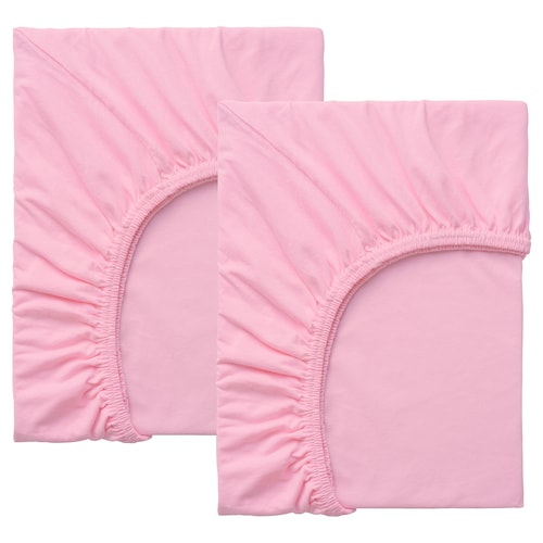 LEN fitted sheet for ext bed, set of 2 pink