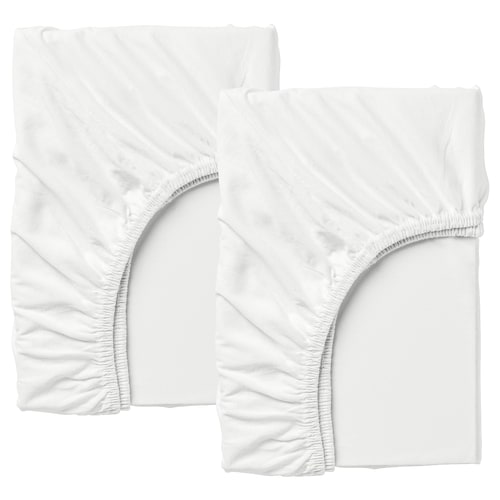LEN fitted sheet for ext bed, set of 2 white