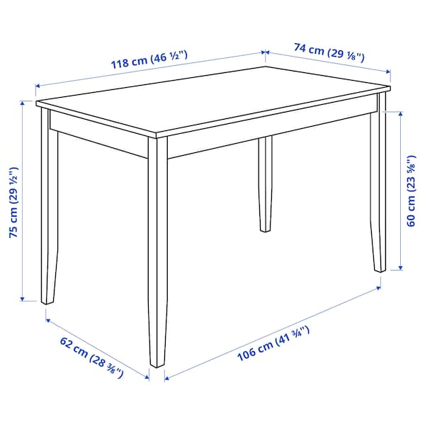 LERHAMN / BERGMUND طاولة و4 كراسي, أسود-بني/Inseros أبيض/أسود, 118x74 سم