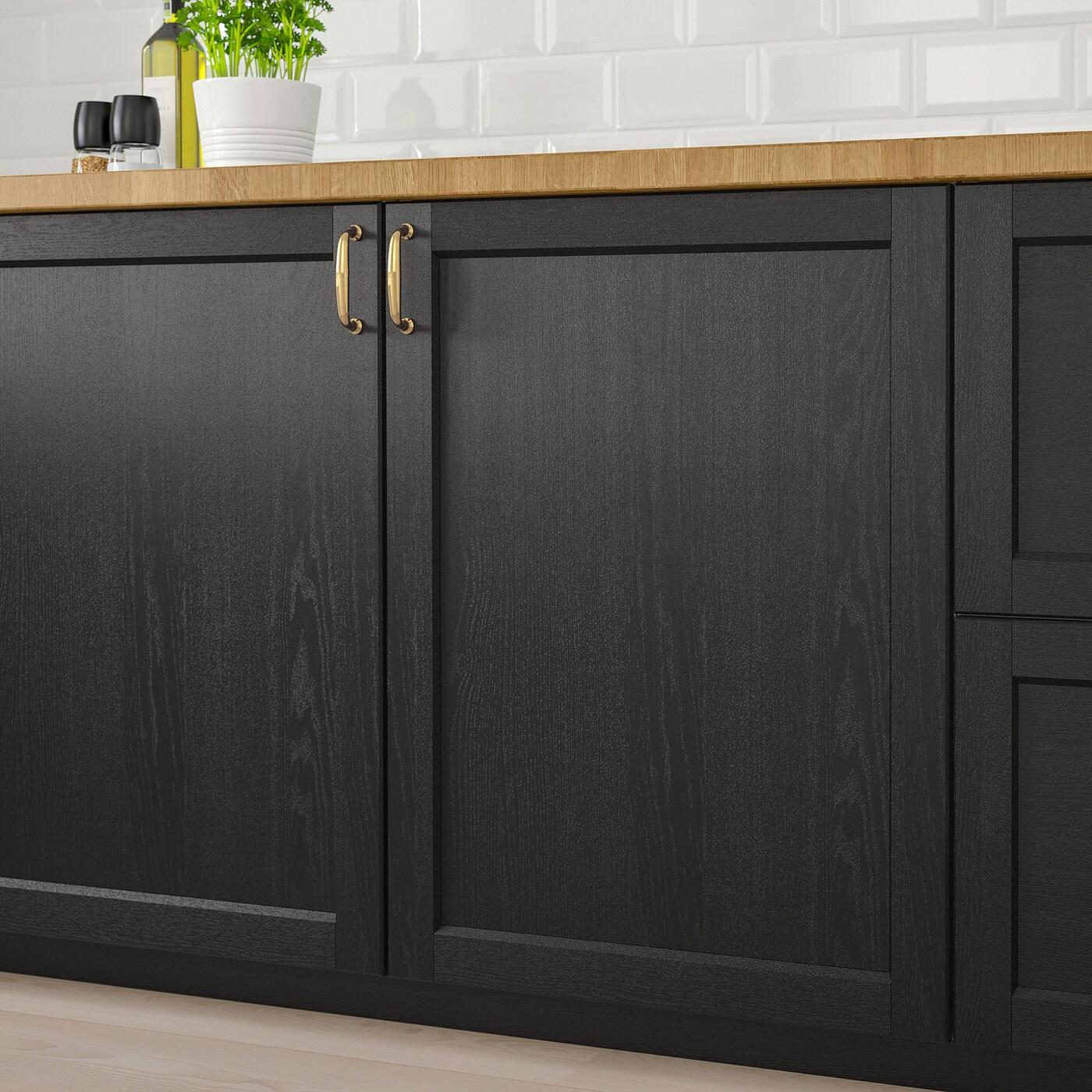 LERHYTTAN Door - black stained 8x8 cm