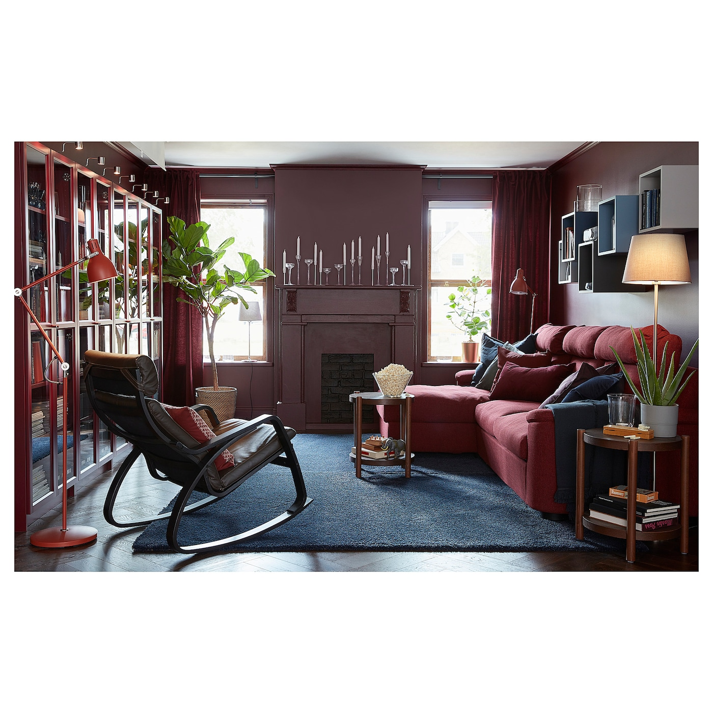 LIDHULT 3-seat sofa - with chaise longue/Lejde red-brown