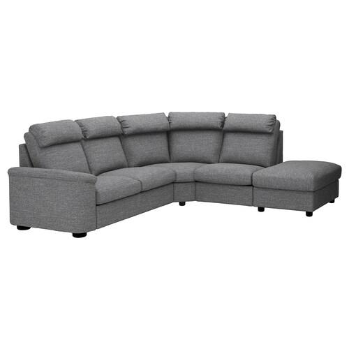LIDHULT corner sofa, 5-seat with open end/Lejde grey/black 102 cm 76 cm 98 cm 275 cm 253 cm 7 cm 53 cm 45 cm