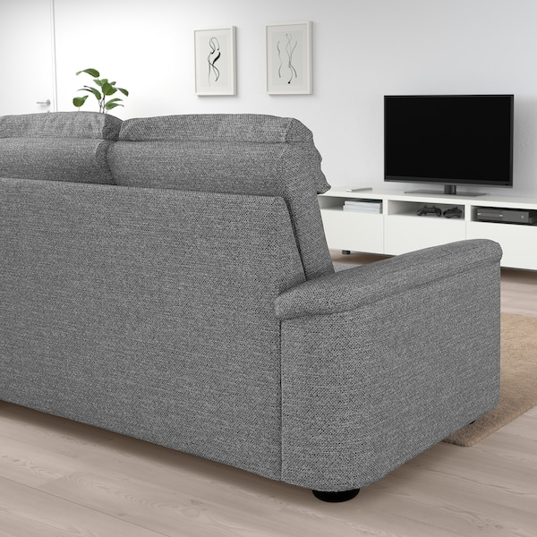LIDHULT corner sofa, 5-seat with open end/Lejde grey/black 102 cm 76 cm 98 cm 275 cm 253 cm 7 cm 53 cm 45 cm