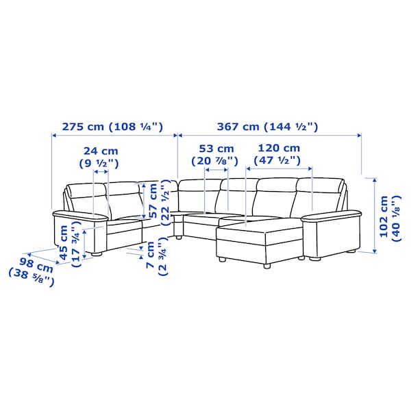 LIDHULT corner sofa, 6-seat with chaise longue/Grann/Bomstad dark brown 102 cm 76 cm 164 cm 98 cm 120 cm 367 cm 275 cm 7 cm 53 cm 45 cm