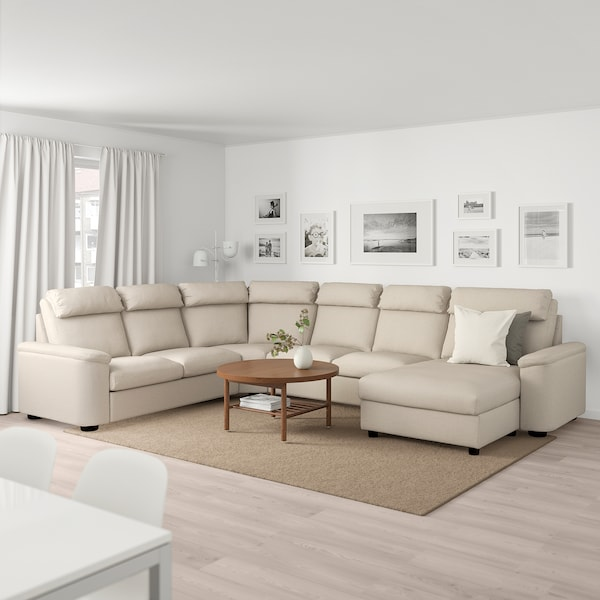LIDHULT corner sofa, 6-seat with chaise longue/Gassebol light beige 102 cm 76 cm 164 cm 98 cm 120 cm 367 cm 275 cm 7 cm 53 cm 45 cm