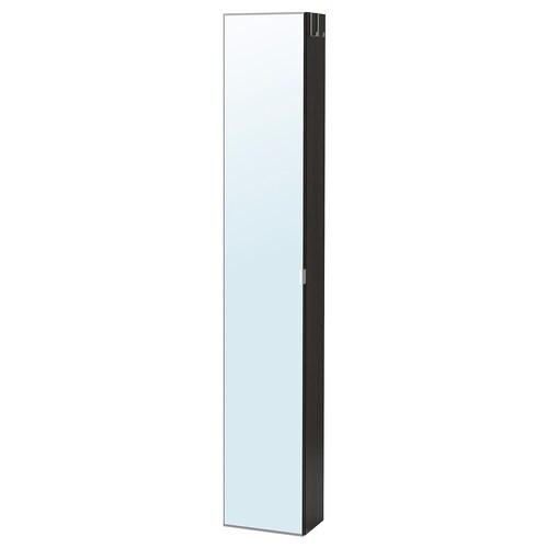 LILLÅNGEN high cabinet with mirror door black-brown 30 cm 21 cm 179 cm