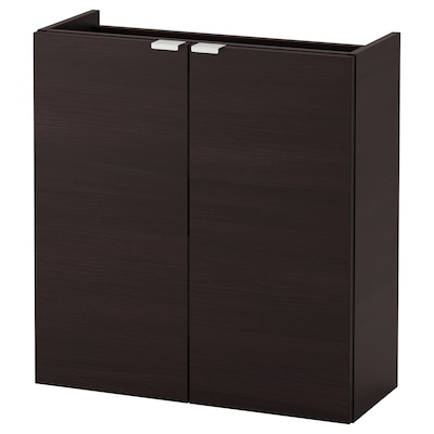 LILLÅNGEN Wash-basin cabinet with 2 doors, black-brown, 60x25x64 cm