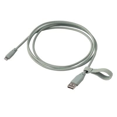LILLHULT سلك USB نوع A إلى سلك إضاءة, نسيج/أخضر فاتح, 1.50 م