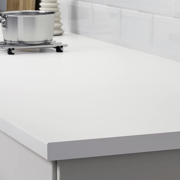 LILLTRÄSK سطح عمل, أبيض/صفائح رقيقة, 123x2.8 سم
