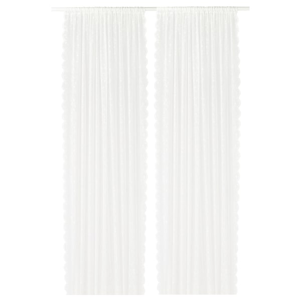 LILLYANA ستائر رقيقة، 1 زوج, أبيض/زهرة, 145x300 سم