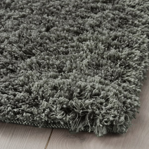 LINDKNUD Rug, high pile, dark grey, 80x150 cm