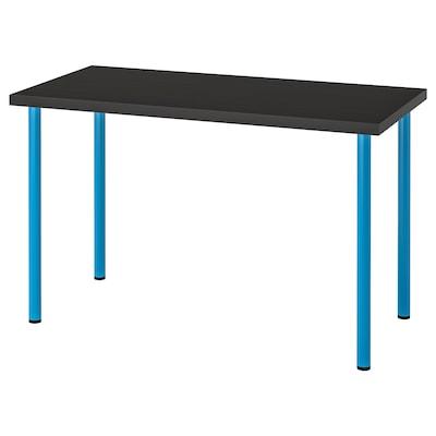 LINNMON / ADILS Table, black-brown/blue, 120x60 cm