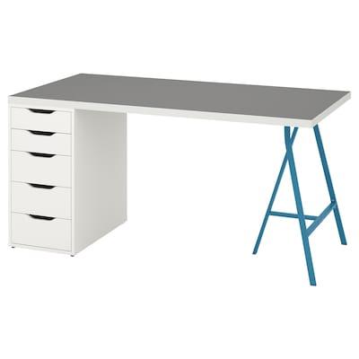 LINNMON / ALEX Table, light grey white/blue, 150x75 cm