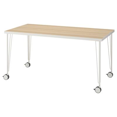 LINNMON / KRILLE Table, white white stained oak effect/white, 150x75 cm