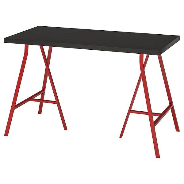 LINNMON / LERBERG Table, black-brown/red, 120x60 cm