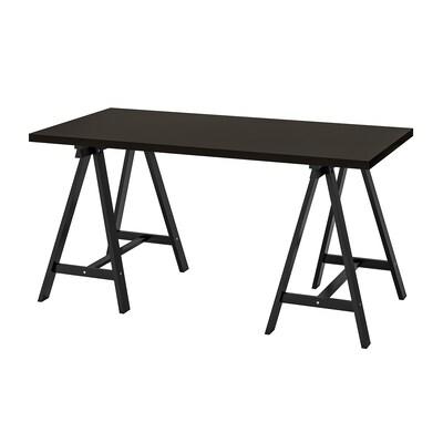 LINNMON / ODDVALD طاولة, أسود-بني/أسود, 150x75 سم