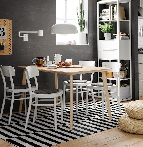 LISABO / IDOLF طاولة و4 كراسي, قشرة خشب الدردار/أبيض, 140x78 سم