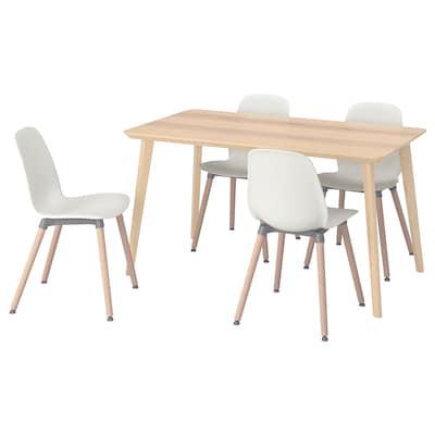 LISABO / LEIFARNE Table and 4 chairs, ash veneer/white, 140x78 cm