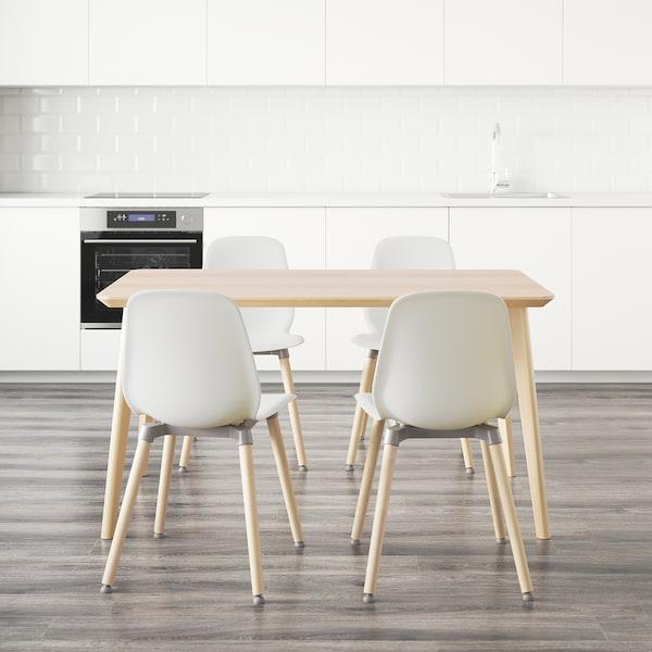 LISABO / LEIFARNE طاولة و4 كراسي, قشرة خشب الدردار/أبيض, 140x78 سم