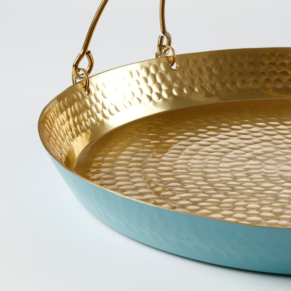 LJUV tray with handle gold-colour/turquoise 36 cm 35 cm