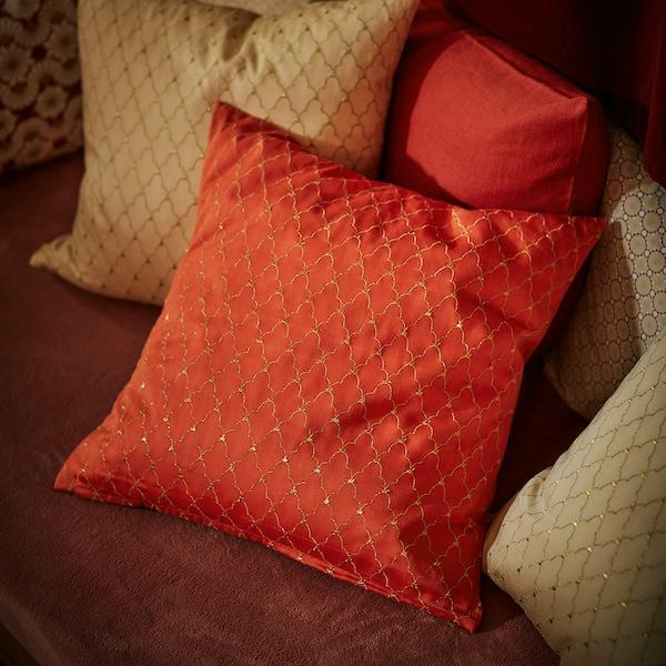 LJUVARE غطاء وسادة, تطريز برتقالي, 50x50 سم