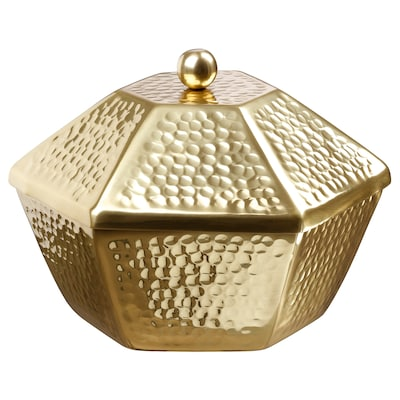 LJUVARE Serving bowl with lid, gold-colour, 25 cm