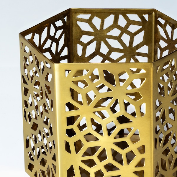 LJUVARE Tealight holder, gold-colour, 10 cm