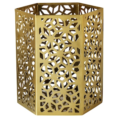 LJUVARE Tealight holder, gold-colour, 15 cm
