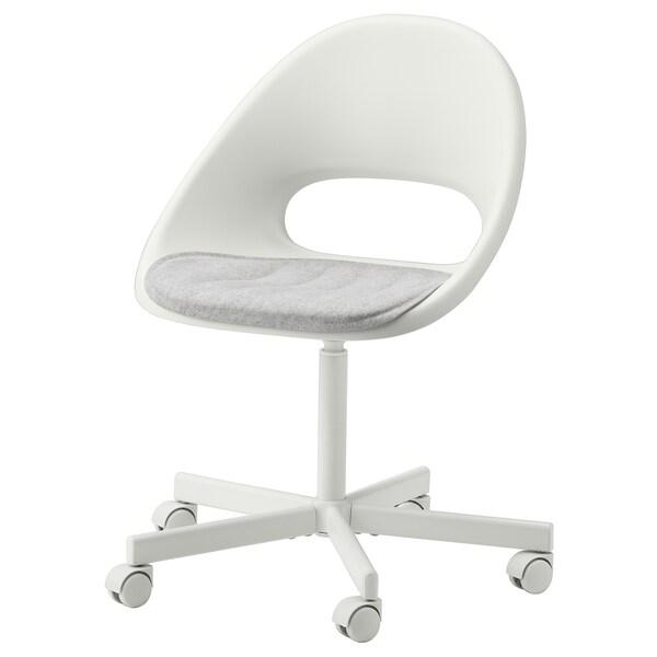 LOBERGET / BLYSKÄR كرسي دوّار مع لبادة, أبيض/رمادي فاتح